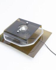 Vintage Herda wandlamp met lagen kunststof bruin jaren 70