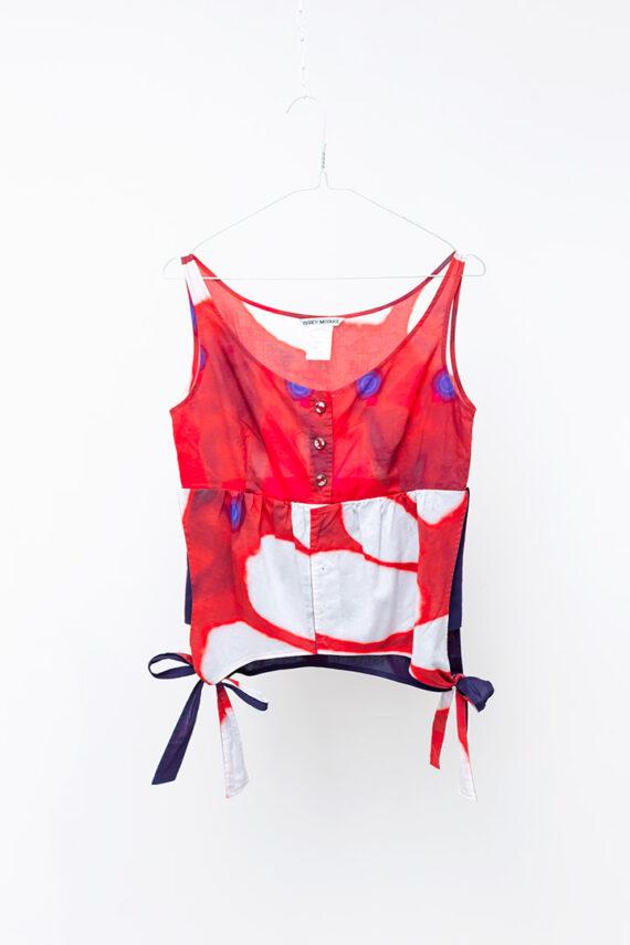 Vintage Issey Miyake sample top 2-in-1 tie dye donkerblauw en rood