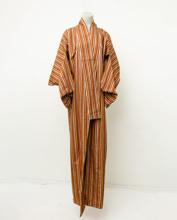 Vintage Japanse kimono met strepen in aardetinten