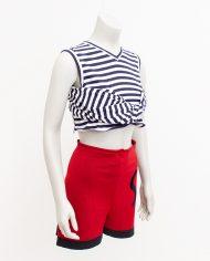 Vintage Jean Paul Gaultier Maille Fuzzi short rood zwart