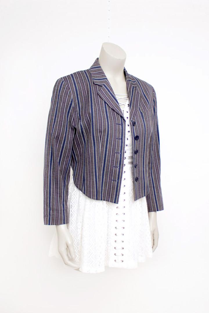 Vintage Kenzo katoenen blazer met strepen in blauw, wit, grijs en bruin