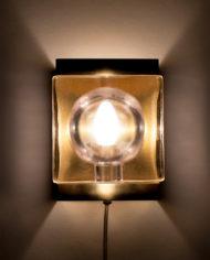 Vintage Vitrika maritieme wandlamp van messing en glas
