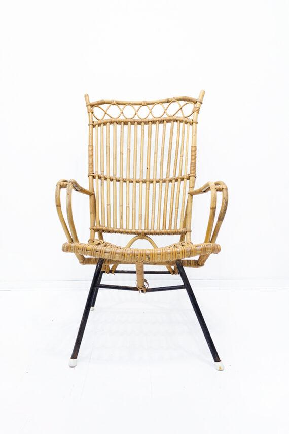 Vintage bamboe stoel met hoge rugleuning