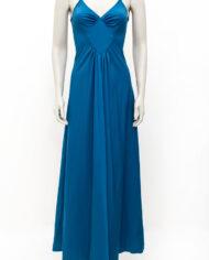 Vintage blauwe avondjurk met laag uitgesneden rug
