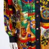 Vintage blouse barok met panterprint en zwart kraagje