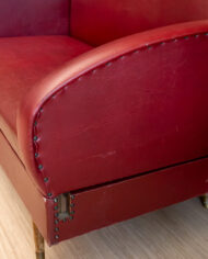 Vintage bordeauxrood bankje van skai-leer met uitneembare leuningen