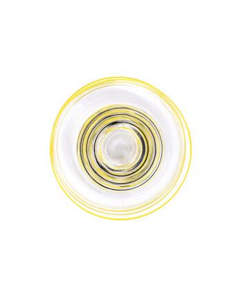Vintage bordjes van glas met gele en zwarte strepen - set van 6