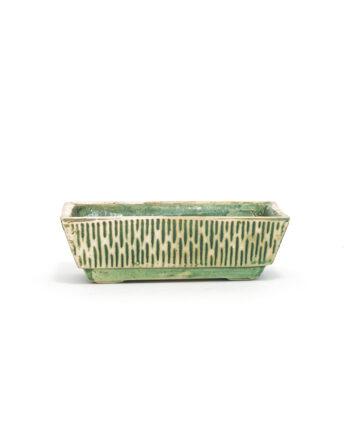 Vintage cactusbak groen keramiek rechthoekig Jola Reuver