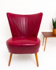 Vintage cocktail stoel bordeaux rood skai leer