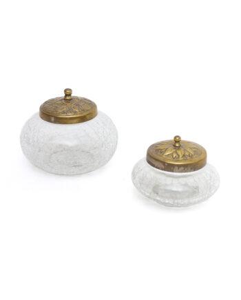 Vintage craquelé potten van glas met messing deksel - set van 2