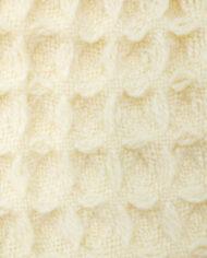 Vintage deken gehaakt met franjes crèmekleurig