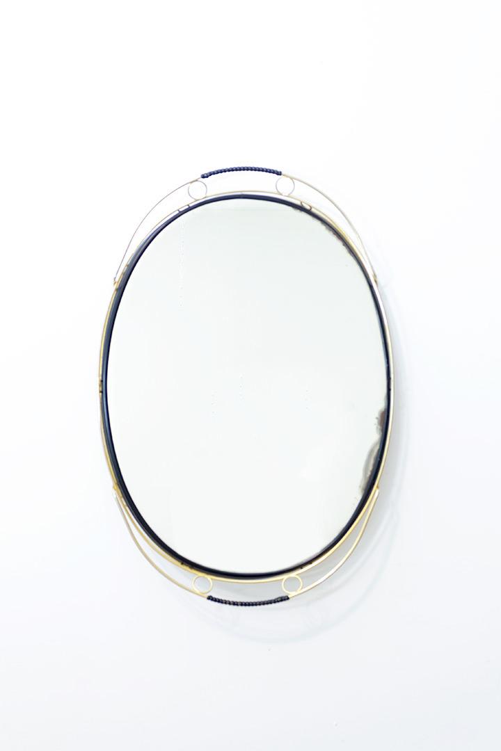 Vintage dienblad of spiegel met messing frame jaren 50