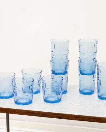 Vintage drinkglazen blauw met geometrisch reliëf - set van 9