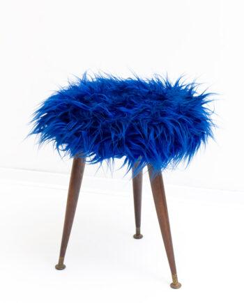 Vintage furry krukje blauw
