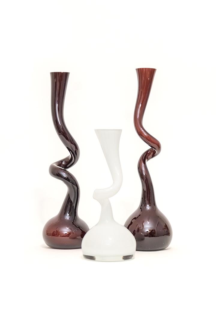 Vintage gekronkelde vaas van glas Makora Krosno Polen