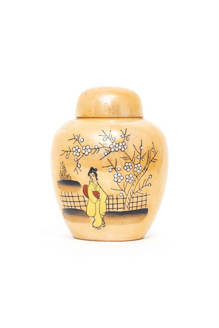 Vintage gemberpot porselein zalmroze met Japanse print