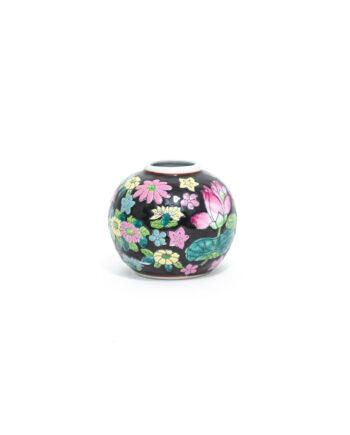 Vintage gemberpotje van keramiek met bloemen