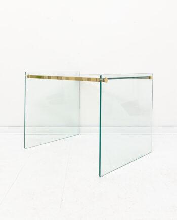 Vintage glazen bijzettafel met messing detail jaren 80