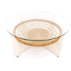 Vintage glazen ronde salontafel wit met rotan lectuurbak