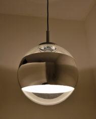 Vintage globe hanglamp Glas & Chroom Hoffmeister Leuchten 51866