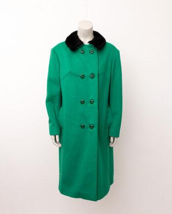 Vintage groene wollen jas met zwarte bontkraag jaren 60