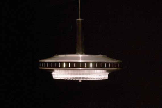 Vintage grote UFO lamp aluminium 3 lampen