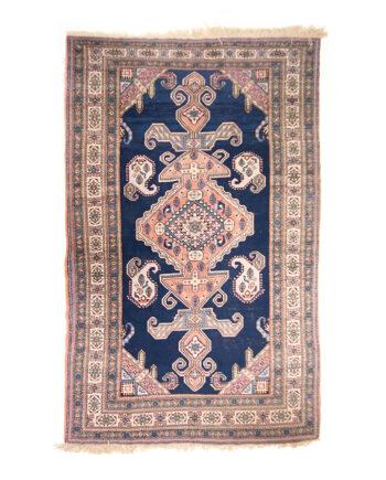 Vintage handgeweven kelim vloerkleed blauw met oudroze 293 x 190 cm