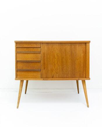 intage houten kast of bureau met lamellen schuifdeur jaren 60