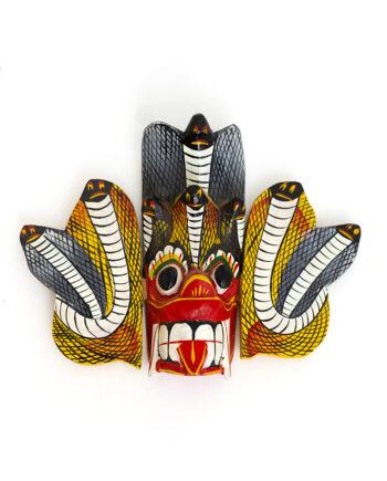 Vintage houten masker Gini Raksha vuurduivel Sri Lanka