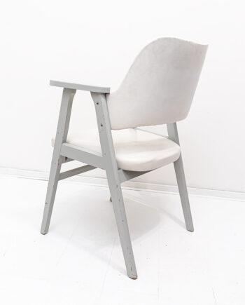 Vintage houten stoel grijs met wit in Koehoorn-stijl
