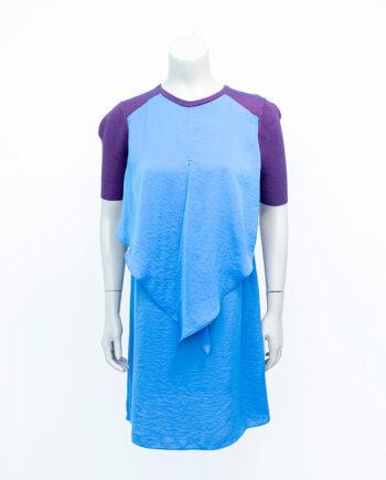 Vintage jurk met gebreid bovendeel en blauwe gelaagde rok Carven