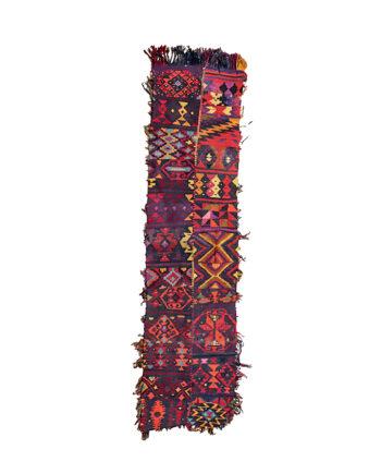 Vintage kelim loper met bonte kleuren en franjes