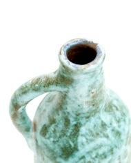 Vintage keramieken fles turquoise met handvat AMHA handwerk