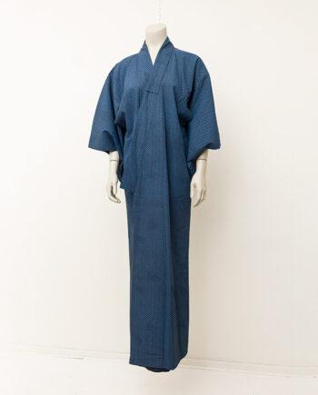 Vintage kimono met zwart/blauw gebloemd patroon