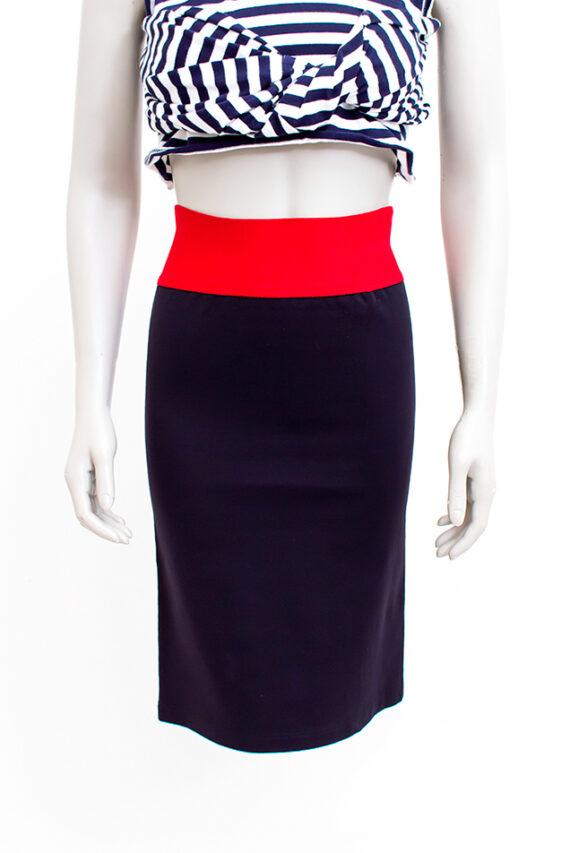 Vintage kokerrok zwart met rode tailleband Marithé + Francois Girbaud