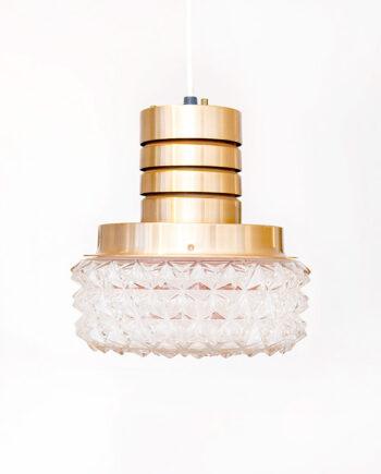 Vintage koperkleurige plafondlamp met bol van figuurglas