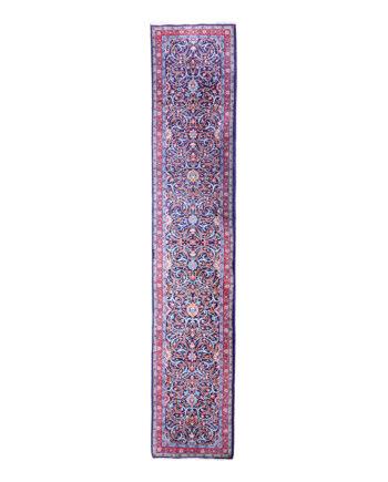 Vintage loper tapijt blauw met 'swirl' patroon 408x85 cm