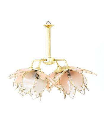 Vintage lotus lamp voor plafond met messing frame en roze glas