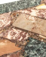 Vintage marmer mix bijzettafel met chromen pootjes