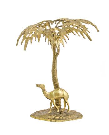 Vintage messing eiland met palmboom en dromedaris
