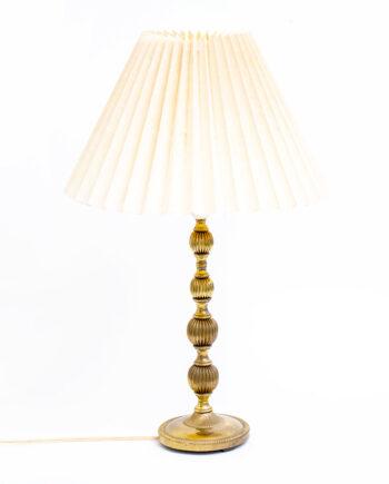 Vintage messing tafellamp met plissé kap
