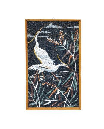 Vintage mozaïek schilderij reigers van steentjes