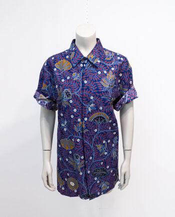 Vintage overhemd blauw katoen batik Danar Hadi Solo Indonesië