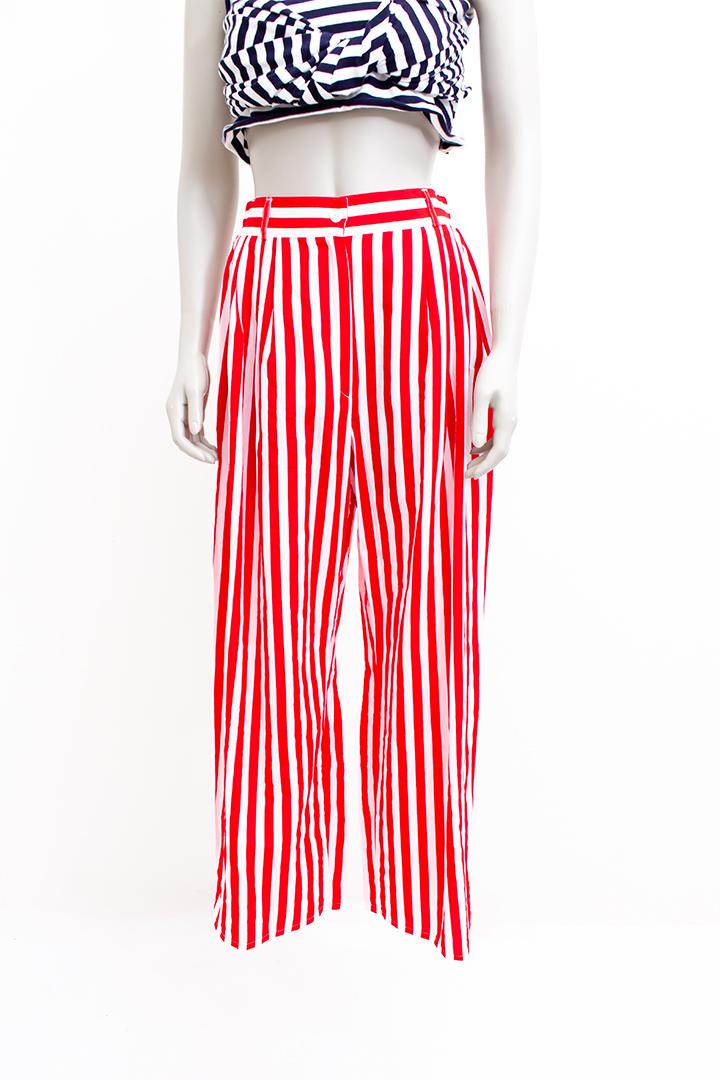 Vintage pantalon rood wit gestreept Miss Etam