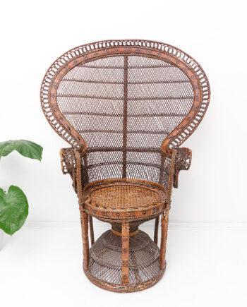 Vintage pauwenstoel van rotan uit de jaren 70