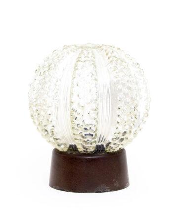 Vintage plafonnière of tafellamp met bewerkte glazen 'zee-egel' bol