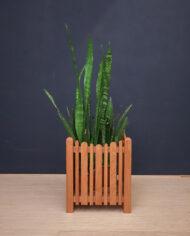 Vintage vierkante plantenbak teakhout jaren 60