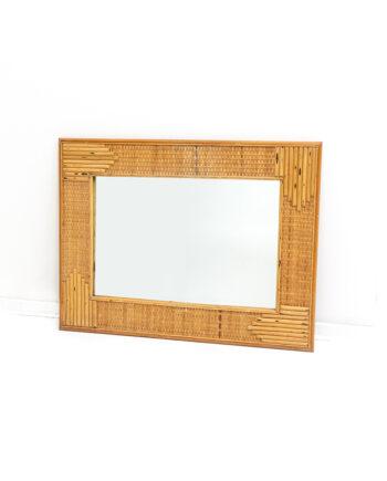 Vintage rechthoekige spiegel met bamboe omlijsting