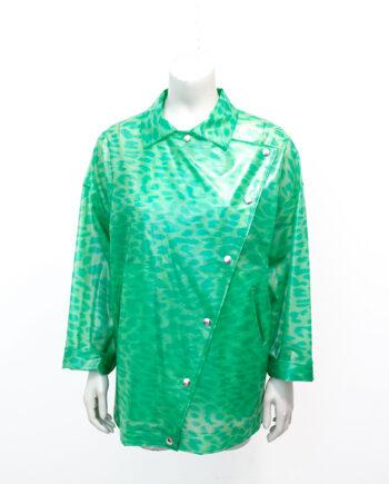 Vintage regenjas groen met panterprint Elisabeth de Senneville jaren 80