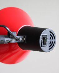 Vintage-rode-staande-vloerlamp-twee-spots-trompet-lamp-3